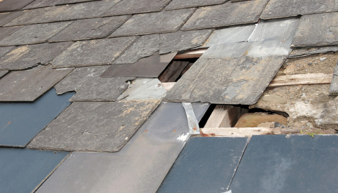 A picture of damaged slates